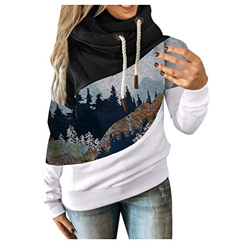 Women Blouse Fashion Casual Autumn Solid Contrast Long Sleeve Color Block Hoodie Sweatshirt Tops