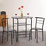 Dining Kitchen Table Dining Set,3 Piece Metal Frame Bar Breakfast Dining Room...