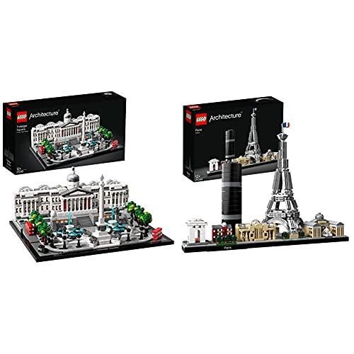 Lego 21045 Architecture Trafalgar Square, Bauset mit National Gallery für Kinder und Erwachsene & 21044 Architecture Paris Skyline-Kollektion, Eiffelturm und Louvre aus Bausteinen, Basteln