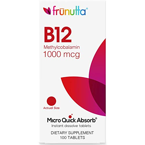 Frunutta Vitamin B12 Methylcobalamin Under The Tongue Instant Dissolve Tablets - 1000 mcg x 100 Tablets - Supports Nervous System Health - Dietary Supplement, Made in USA - Non-GMO, Gluten Free