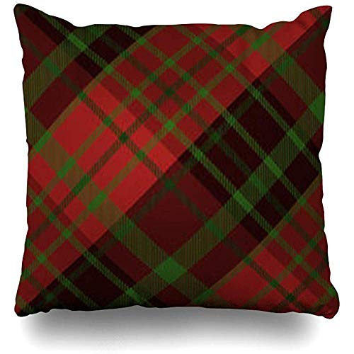 Scottish Red Celtic Tartan Green Irish Holidays Check Christmas Classic Color Detail Pillowcases Home Decorative Super Soft Throw Cushion Cover 18 X 18 Inch