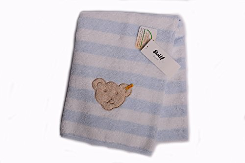 Steiff Baby Badetuch Handtuch 50 x100 cm Frottee hellblau-weiß geringelt