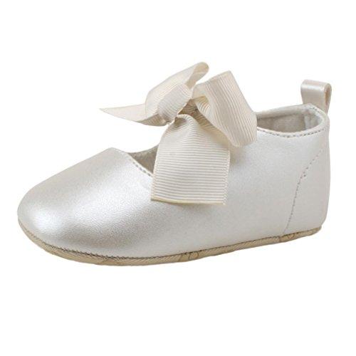 Zapatos de bebé, Switchali Zapatos Bebe niña Princesa Verano Recién Nacido Niña Cuna Suela Blanda Antideslizante Zapatillas Bebé niña Bowknot Vestir Casual (12 (6~12meses), Blanco)