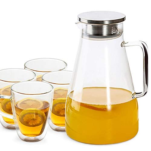 [ 1 Pitcher + 4 Mugs ] 70 Ounces Glass Pitcher with Stainless Steel Lid, Double-Wall Insulated Glass Coffee Mugs (12 oz × 4), Drip-free Water Carafe for Hot/Cold Water, Ice Tea and Juice Beverage