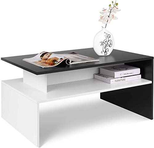 Homfa Coffee Table for Living Room Modern Side End Table Centre Table with Lower Shelf Black+White
