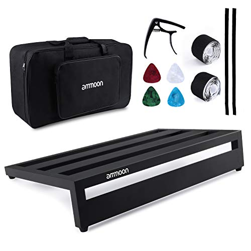 """ammoon Guitar Pedalboard Large Pedal board 19.8"""" x 11.5"""" Aluminum Alloy with Carry Bag Capo 4pcs Picks Fixing Tapes"""