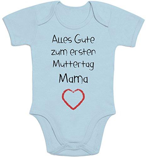 Shirtgeil Alles Gute zum ersten Muttertag Mama Herz - Baby Geschenk für Mutter Baby Strampler Body Kurzarm 3-6 Monate Hellblau