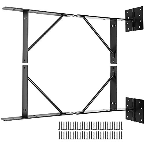 Anti Sag Gate Kit -Gate Corner Bracket-90 Degree Bracket with Gate Hinges Heavy Duty for Wooden Fences-No Sag Gate Corner Brace Bracket for Doors, Driveway, Corral Gates, Wood Windows (Steel)