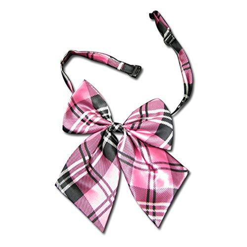 Black Sugar - Lazo para corbata de tartan con clip de corbata fina negra para hombre y mujer, rojo y rosa Lavalier rosa tartán Talla única