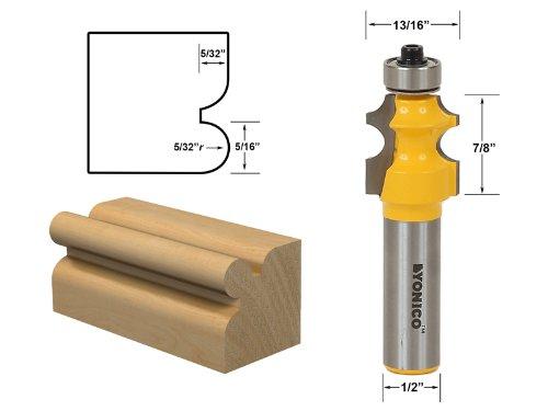 Yonico 13109 5/32-Inch Radius Corner Bead/Beading Router Bit 1/2-Inch Shank