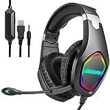 Auriculares para juegos para Xbox One, PS4, auriculares con micrófono con cancelación de ruido y luz RGB, orejeras suaves, control de volumen, compatible con Nintendo Switch, PC
