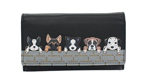 Mala Leder Kollektion BEST FRIENDS Geldbeutel Geldbörse, Hunde auf der Mauer 3416_65 Schwarz