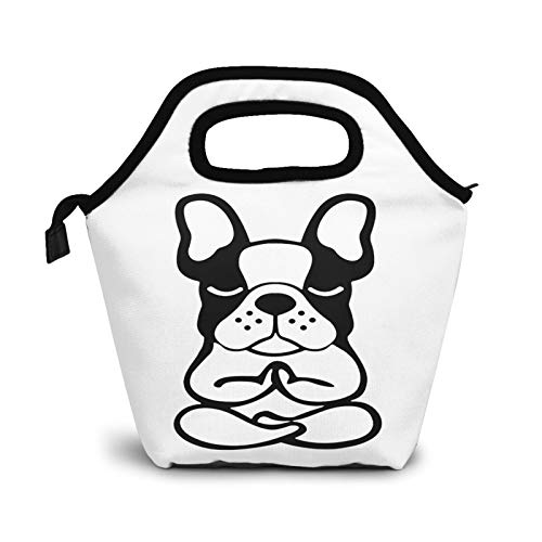 Kung Fu Frenchie Meditating French Bulldog Yoga Portable Insulated Lunch Bag Leakproof Cooler Waterproof Tote Bento Bag Lunch Tote Lunch Box For Men Women
