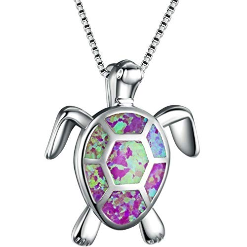 Jude Jewelers White Gold Plated Simulated Opal Small Turtle Pendant Statement Necklace (Purple)