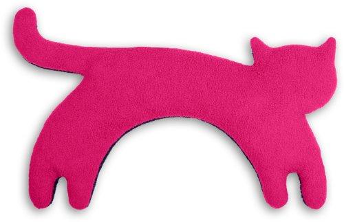 Leschi WÄRMEKISSEN löst Schulter- und Nacken-Verspannungen/für Mikrowelle und Ofen/Körnerkissen für Damen, Kinder und Babys/Katze Minina, pink schwarz