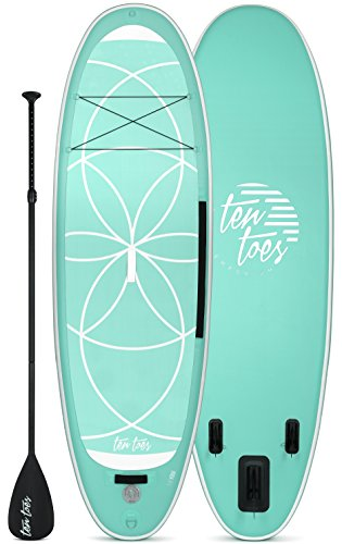 Retrospec Weekender-Yogi 10' Extra Wide Inflatable Stand Up Paddleboard Triple Layer Military Grade PVC iSUP Bundle w/ paddle board carrying case, aluminum paddle, removable fins, pump & phone case, Seafoam & White, PADDLE & PUMP