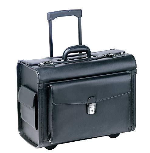 Mancini BUSINESS Wheeled Catalog Case, Simulated Leather (PVC) Rolling Business Briefcase, Black