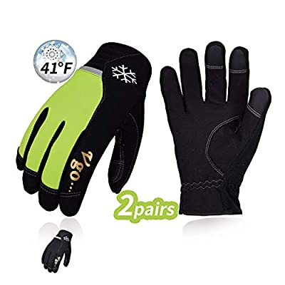 Vgo 2Pairs 41? or Above Winter Leather Gloves High Dexterity Cold Storage Work Gloves,Touchscreen (Size XL,Black&Fluorescent Green,AL8772)