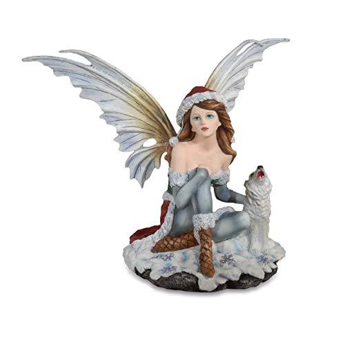 Les Alpes Orig. Fata d'inverno ELONI Seduta con Piccolo Lupo, Collezione Fairy Land, Altezza 30 cm - Statuetta Figura Dipinta a Mano - 042 655