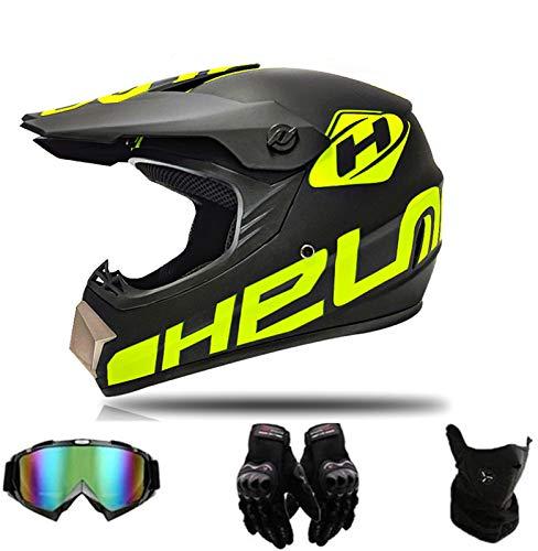 FANYI Kinder Cross Helm Fullface MTB Helm,Motorradhelm Fahrrad Enduro Downhill BMX Off Road ATV Motocross Helm Set mit Handschuhen Brille Maske (M)