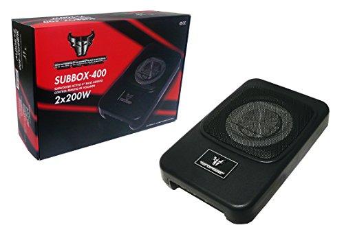 Toropower Subbox-400 - Altavoz subwoofer Auto Amplificado para automóvil, Color Negro