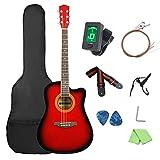Cutaway Guitar41 Inch Cutaway Guitarra acústica de madera brillante Set Ukelele de concierto (tamaño: 41 pulgadas; color: rojo)
