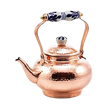 Old Dutch Solid Copper Hammered Tea Kettle with Ceramic Handle, 2 quart