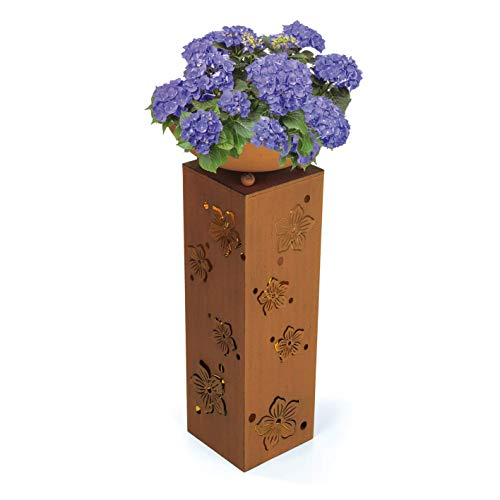 Hoberg LED Pflanzsäule 3D Blumen-Design in Rost-Optik | Abnehmbare Pflanzschale (Ø 34cm) In- und Outdoor geeignet | Integrierte Beleuchtung, 6h Timer, Kabellos | [ 19 x 19 x 72 cm]