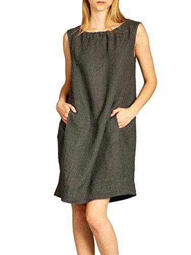 Caspar SKL017 Vestido Casual de Verano para Mujer Hecho de Lino, Color:Gris Oscuro, Talla:XL/XXL