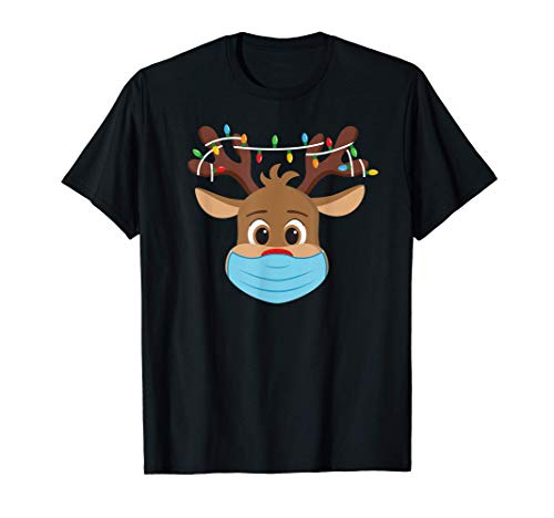 Rudolph Reno Nariz Rojo Mascarilla T Shirt Navidad Papa Noel Camiseta