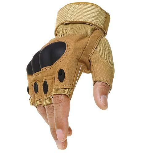 IMmps Fingerlose Handschuhe Hard Knuckle Racing Motorrad Motocross Loyal Biker Half Finger Auto Schutzhandschuhe-T3102Brown-L