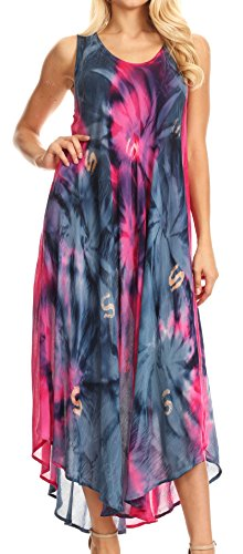 Sakkas 00831- Sternlicht-Kaftan-Behälter-Kleid/vertuschen-rosa/Navy-One Size