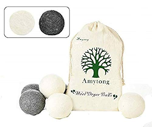 Wool dryer balls,6 pack XL fabric softener, Wool dryer balls simple natural products is an Alternative to Plastic Laundry Balls,Reduce wrinkles, Anti static,3 white and 3 grey