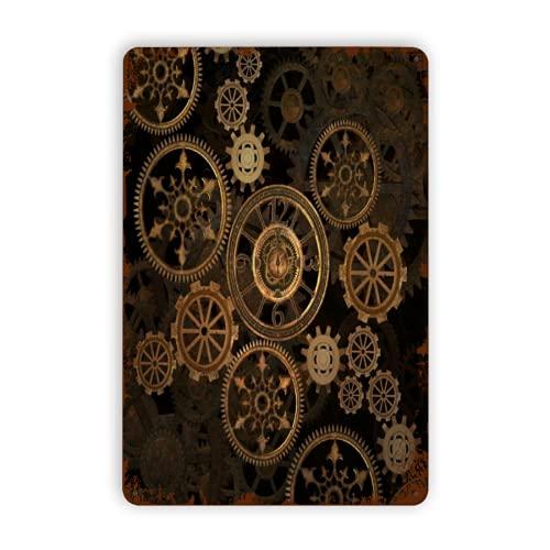 DAOPUDA Letreros de metal,Steampunk Steam Punk Gears Reloj Resumen Oro Tecnología Vintage Bronce Siglo, Decoración de la pared de la pintura del hierro de la pared del cartel de chapa
