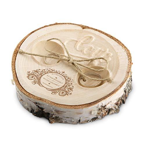 Hochzeit Ringkissen Love Birkenscheibe Gravur individuell ca. 11 cm Durchmesser - Vintage