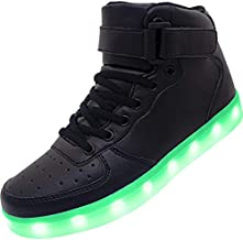 APTESOL Kids Youth LED Light Up Sneakers Unisex Boys Girls High Tops Cute Cool Flashing Shoes Halloween Xmas School Birthday Party Dancing Shoes,Black,8.5 Big Kid