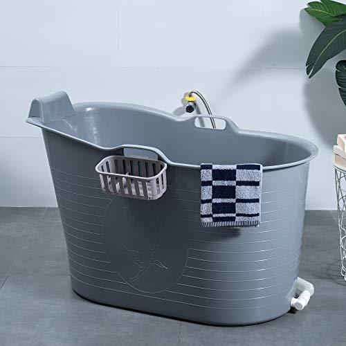 Schwänlein® Mobile Badewanne mit Nackenkissen, Ideal für das kleines Badezimmer, 97x55x63cm, Stylisch und Stimmungsvoll (Grau)