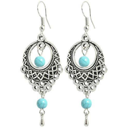 2LIVEfor Pendientes turquesa perlas étnicas gota tibetana azul grande redondo pendientes bohemios vintage pendientes colgantes estilo antiguo plata pendientes retro