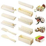 Kit para hacer sushi, 10 piezas, kit de herramientas para hacer sushi, para hacer pasteles de arroz, forma redonda, forma de Sushi, juego de rodillos para sushi, simple y divertido, color negro
