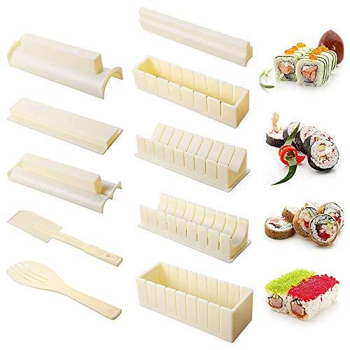 Sushi Maker Kit, DIY 10-teiliges Sushi Werkzeugset Reiskuchen Rollform Sushi Form DIY Sushi Set Sushi Rollen – einfach und lustig – Sushi Rollen Maker Maki Roll Sushi Roller Schwarz…