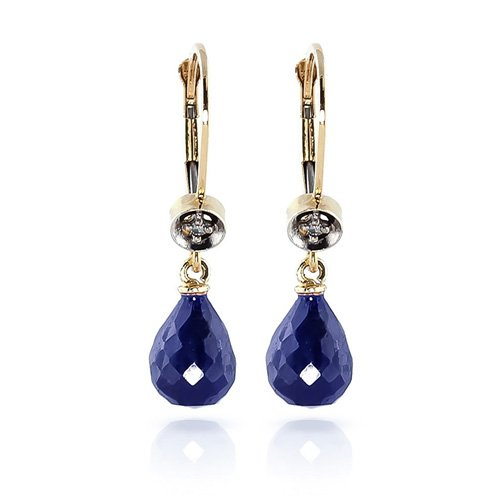 Pendientes de diamante natural de 6,63 quilates de zafiro azul con piedras preciosas de oro amarillo sólido de 14 quilates para mujer