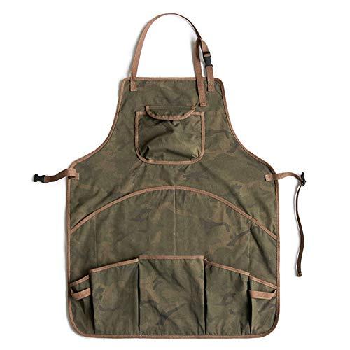 Delantal para Hombres Mujeres, Grado profesional para cocinar cocina Chef BBQ Grill, Diseño de babero con bolsillos para herramientas, Hebilla de liberación rápida Ajustable M a XXL,Verde