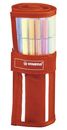 Rotulador premium STABILO Pen 68 - Estuche enrollable de tela Rollerset con 30 colores