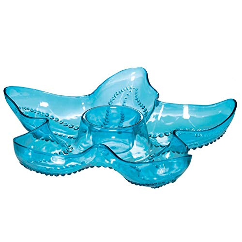 "Amscan Starfish Party Chip and Dip Tray, 14.5"", Cool Blue"