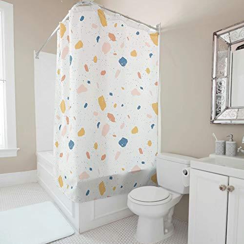 Sweet Luck Terrazzo Duschvorhang Anti-Schimmel Wasserdicht Waschbar Stoff Vorhang Polyester Textil Shower Curtains mit Haken für Badewanne White 120x200cm