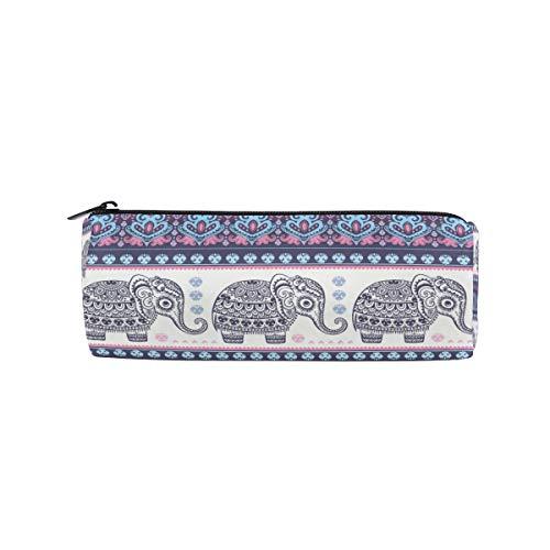 SunsetTrip Pencil Case Elephant Mandala Flower Round Pencil Bag Zipper Stationery Pouch Bag Cosmetic Pen Bag for School Teenage Girls Kids Boys Office