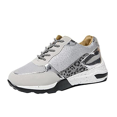 URIBAKY - Zapatillas de deporte para mujer, con cordones de gran tamaño, con lentejuelas para correr, fitness, transpirables, zapatillas de senderismo, gris, 40 EU