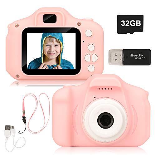 Miunana Kids digitale camera, oplaadbare 2.0 inch scherm digitale camera camcorder met 13MP HD 1080P & 32G geheugenkaart en kaartlezer voor kinderen jongens meisjes