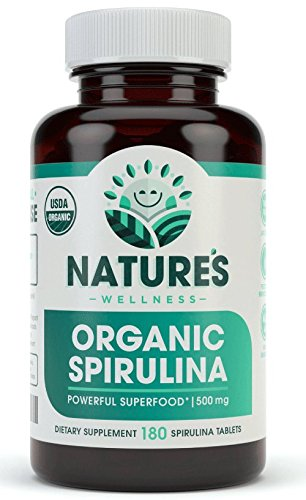 USDA Organic Spirulina Tablets - Non-GMO Green Superfood Supplement: 3000mg of Fresh Blue Green Algae, Vegan, Gluten Free, Sustainably Grown, Pesticides Free and Non-Irradiated, 500mg per Tablet, 180'