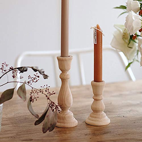 CHXIHome Candlesticks Holders, Wood Classic Craft Candlesticks Holders,Wood Home Decor Wooden Pillar Candlestick Holder, Candle Holder(20.5 x 5cm)